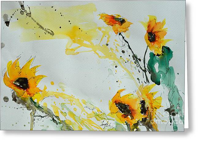 Ismeta Paintings Greeting Cards - Flower Power- Sunflower Greeting Card by Ismeta Gruenwald