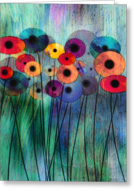 Annpowellart Greeting Cards - Flower Power Three Greeting Card by Ann Powell