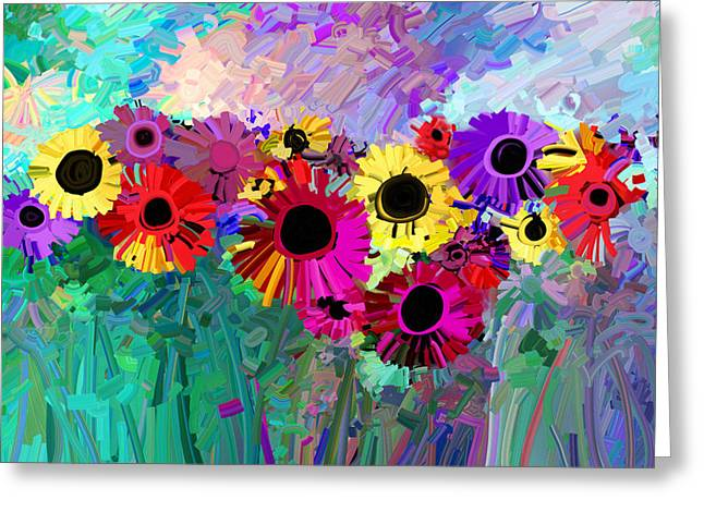 Annpowellart Greeting Cards - Flower Power Two Greeting Card by Ann Powell
