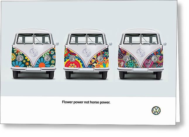 Vw Greeting Cards - Flower Power VW Greeting Card by Mark Rogan