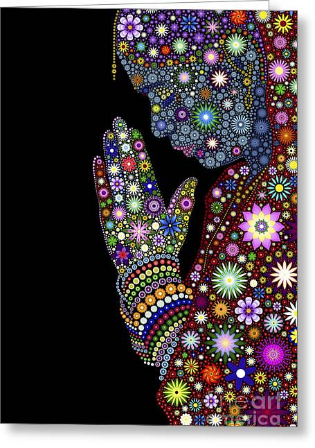 Emotions Greeting Cards - Flower Prayer girl Greeting Card by Tim Gainey