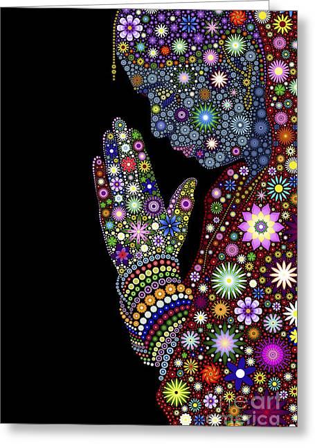 Flower Prayer Girl Greeting Card by Tim Gainey