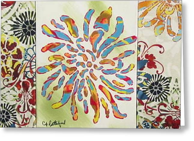 Cloth Greeting Cards - Flower Puzzle Greeting Card by Cathy Rutherford