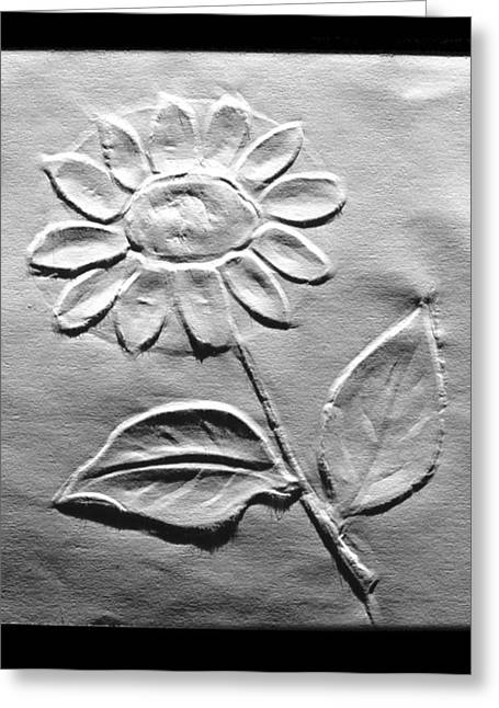 Drawing Reliefs Greeting Cards - Flower Relief Drawing Greeting Card by Suhas Tavkar