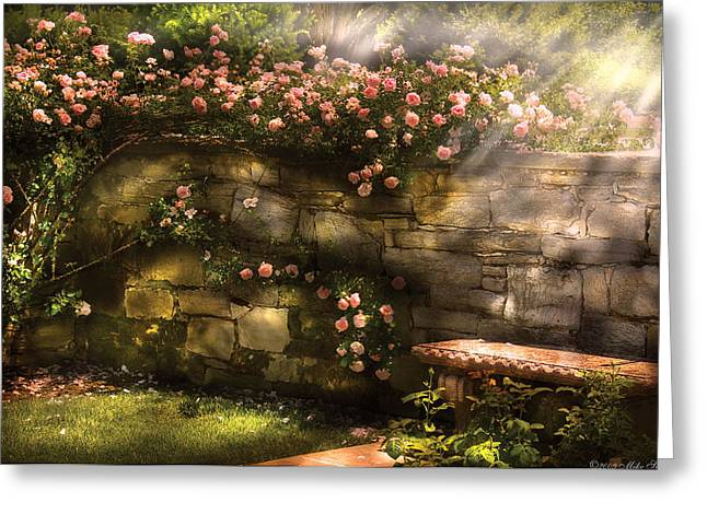 Morn Greeting Cards - Flower - Rose - In the rose garden  Greeting Card by Mike Savad
