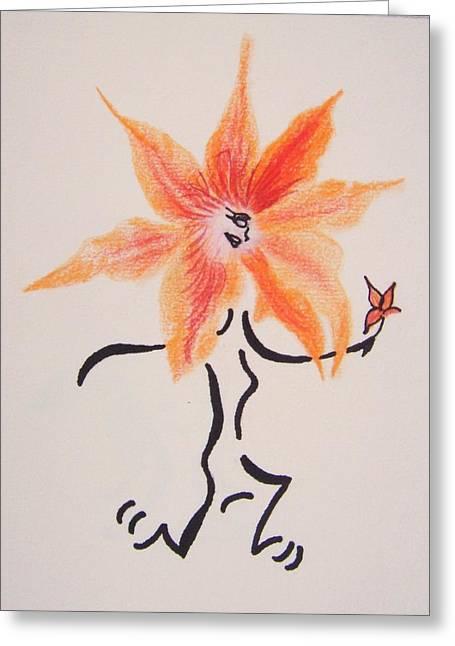 Runner Mixed Media Greeting Cards - Flower Runner Greeting Card by Janice W Deetscreek