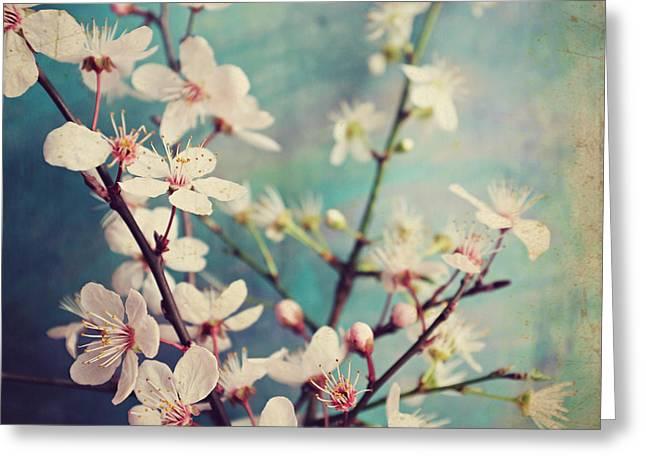 Pink Flower Branch Greeting Cards - Flower Season Greeting Card by Lupen  Grainne