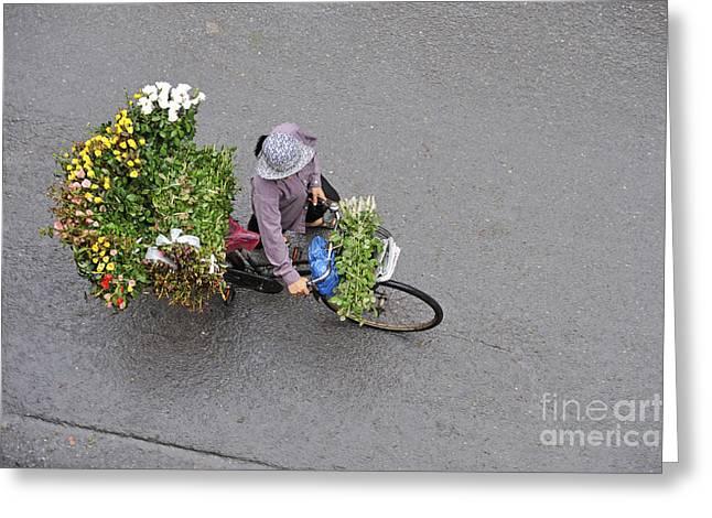 Flower Seller In Street Of Hanoi Greeting Card by Sami Sarkis