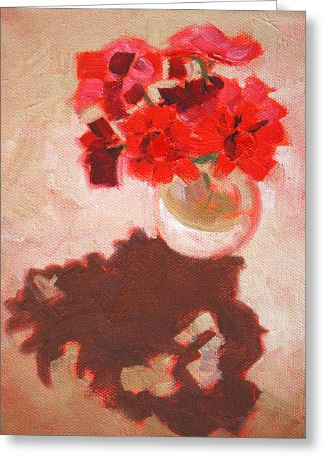 Red Geranium Greeting Cards - Flower Shadows Still Life Greeting Card by Nancy Merkle