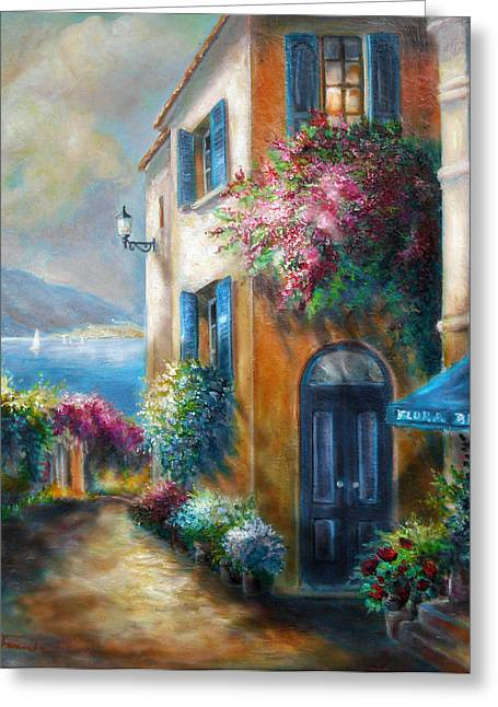 European Flower Shop Greeting Cards - Flower shop by the Sea Greeting Card by Gina Femrite