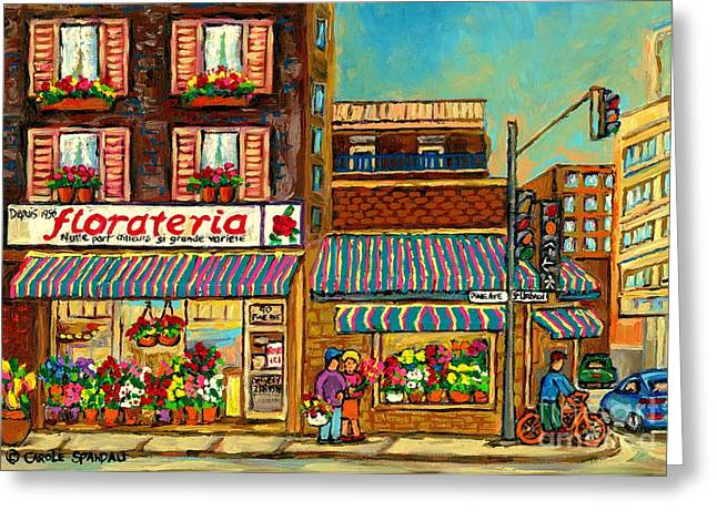 The Plateaus Paintings Greeting Cards - Flower Shop In Montreal Florateria  Greeting Card by Carole Spandau