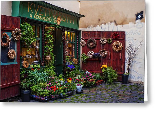 European Flower Shop Greeting Cards - Flower Shop in Prague Greeting Card by Jenny Rainbow