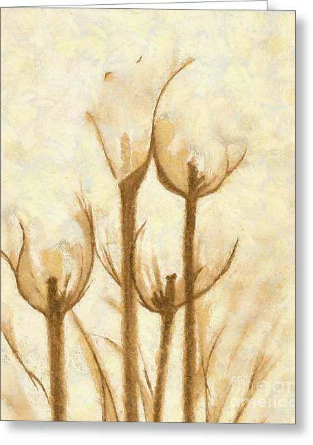 Fantasy Landscape With Figure Mixed Media Greeting Cards - Flower Sketch Greeting Card by Yanni Theodorou