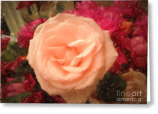 Virgin Mary Greeting Cards - Flower - Softly Rose Joy - Luther Fine Art Greeting Card by Luther  Fine Art