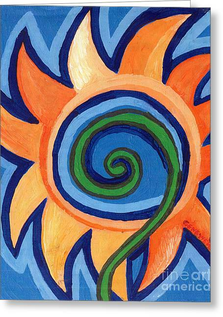 Flowers Stretched Prints Greeting Cards - Flower Spiral Greeting Card by Genevieve Esson