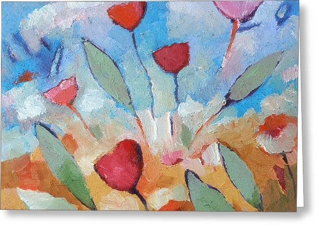 Texture Flower Paintings Greeting Cards - Flower Square Greeting Card by Lutz Baar