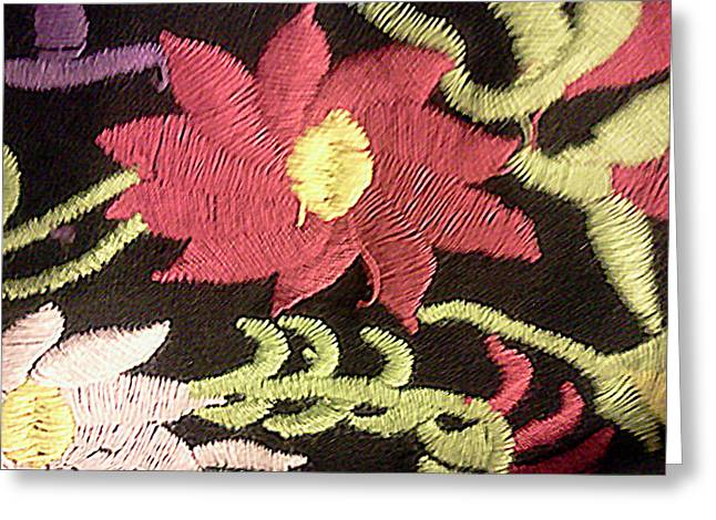 Bright Tapestries - Textiles Greeting Cards - Flower Stich Greeting Card by Ismael Lopez