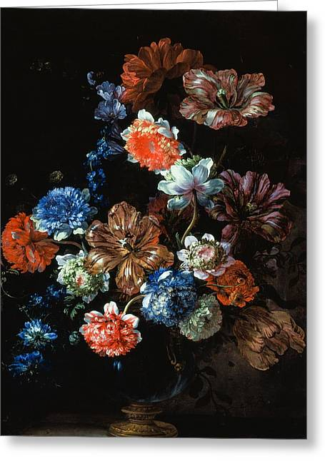 Flower Still Life Greeting Cards - Flower Still Life, 1696 Oil On Canvas Greeting Card by Jean-Baptiste Monnoyer