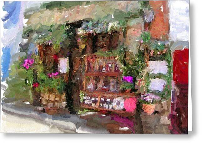 Old Town Digital Art Greeting Cards - Flower store Greeting Card by Yury Malkov