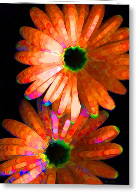 Glowing Mixed Media Greeting Cards - Flower Study 5 - Vibrant Orange by Sharon Cummings Greeting Card by Sharon Cummings