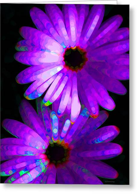 Glowing Mixed Media Greeting Cards - Flower Study 6 - Vibrant Purple by Sharon Cummings Greeting Card by Sharon Cummings