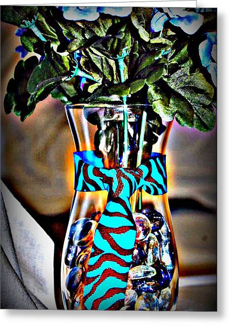 Babies Glass Art Greeting Cards - Flower Tie Greeting Card by Joyce Brooks