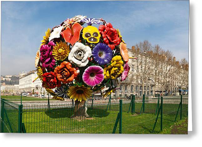 Town Square Greeting Cards - Flower Tree Sculpture At Place Antonin Greeting Card by Panoramic Images