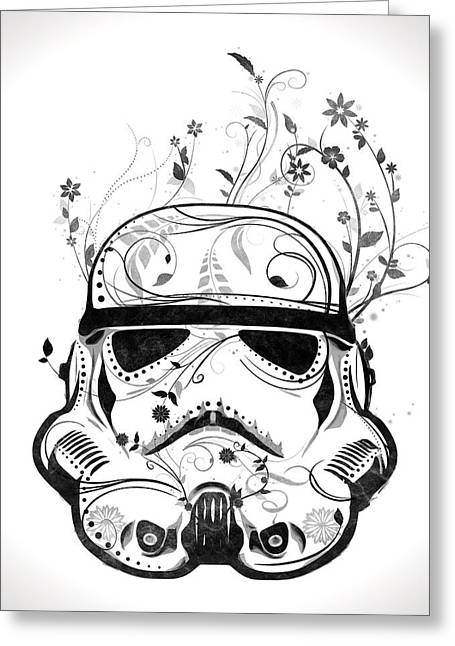 Decorating Mixed Media Greeting Cards - Flower Trooper Greeting Card by Nicklas Gustafsson