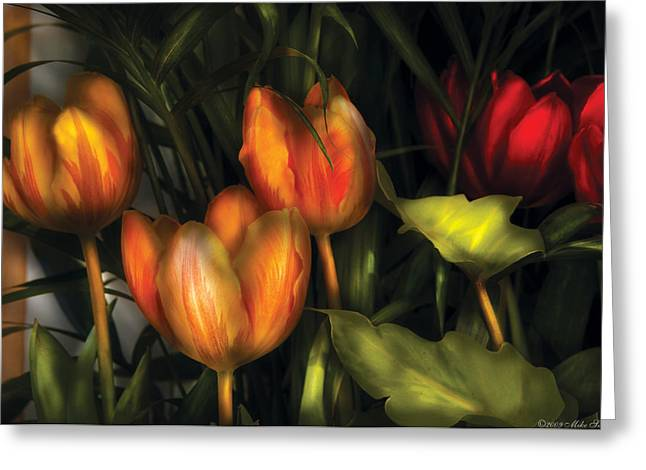 Botanist Greeting Cards - Flower - Tulip -  Orange Irene and Red  Greeting Card by Mike Savad