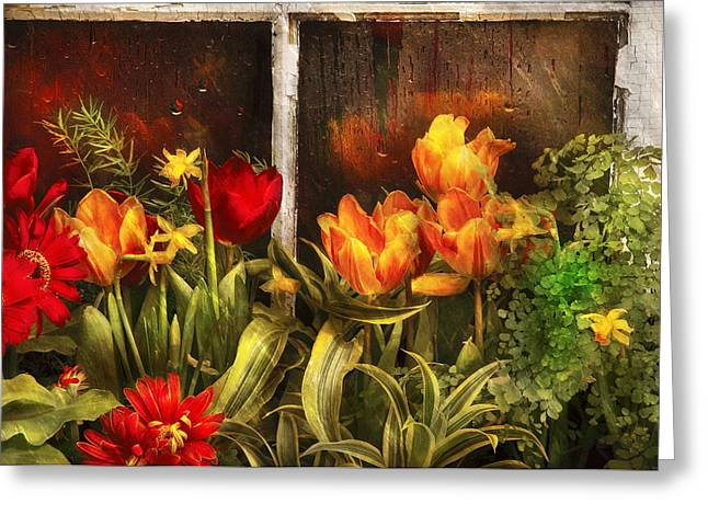 Wet Greeting Cards - Flower - Tulip - Tulips in a window Greeting Card by Mike Savad