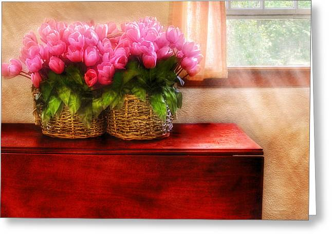 Mahogany Red Greeting Cards - Flower - Tulips by a Window Greeting Card by Mike Savad