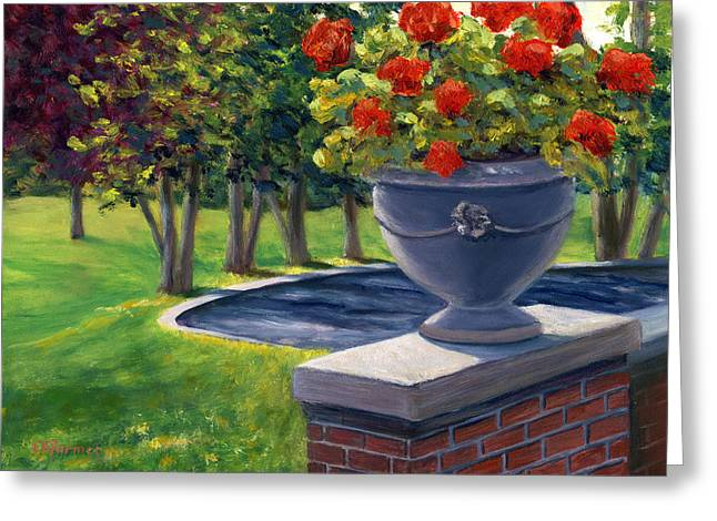Red Geraniums Paintings Greeting Cards - Flower Urn Greeting Card by Elaine Farmer