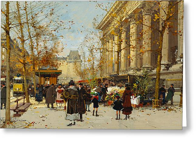 Signature Greeting Cards - Flower Walk Greeting Card by Eugene Galien-Laloue