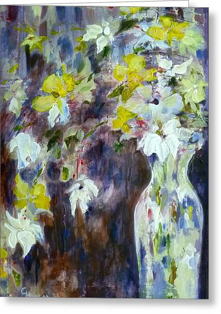 Palette Knife And Brush Greeting Cards - Flowerfall Greeting Card by Claudia Hanson