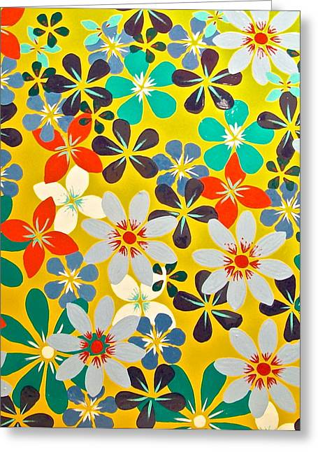 Investigation Mixed Media Greeting Cards - Flowerfield 5Y- Large 100x100cm original floral canvas painting Greeting Card by Monique Grant-Patel