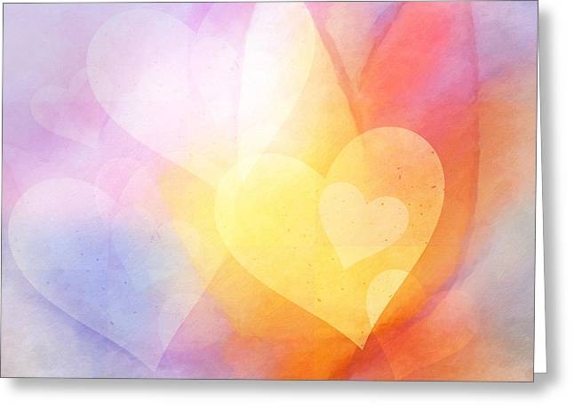Light Of Heart Greeting Cards - Flowerhearts Greeting Card by Lutz Baar