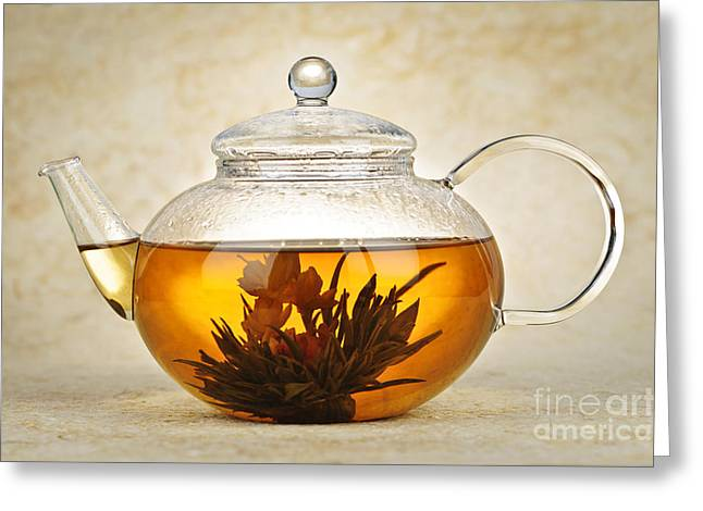 Lids Greeting Cards - Flowering blooming tea Greeting Card by Elena Elisseeva