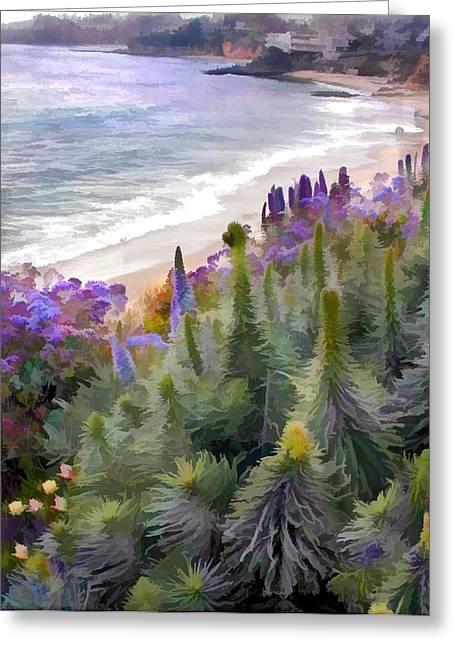 Flowering Coastline Greeting Card by Elaine Plesser