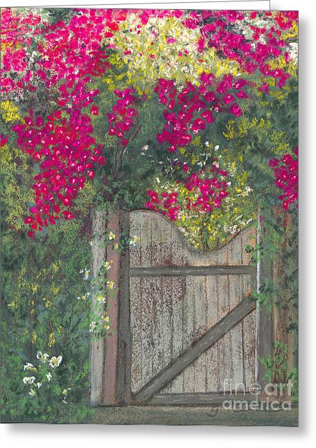 Gate Pastels Greeting Cards - Flowering Gateway Greeting Card by Ginny Neece
