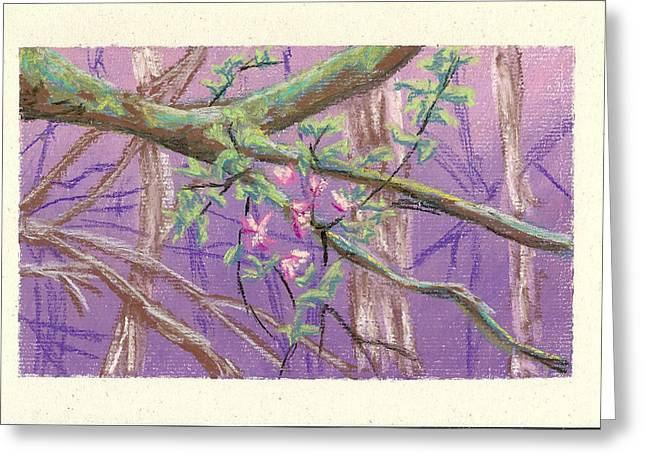 Moss Green Pastels Greeting Cards - Flowering Moldy Tree Greeting Card by Ila Medlin