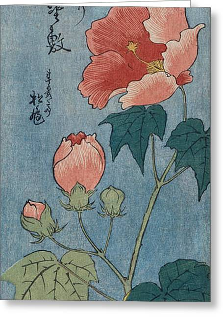 Calligraphy Print Greeting Cards - Flowering Poppies Tanzaku Greeting Card by Ando Hiroshige