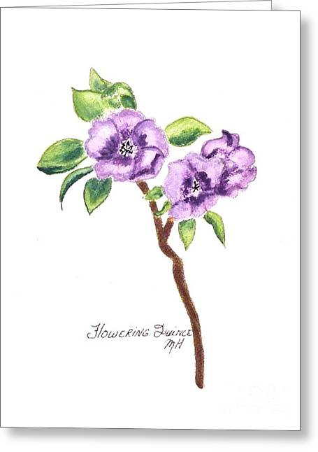 Quince Greeting Cards - Flowering Quince Greeting Card by Marsha Heiken