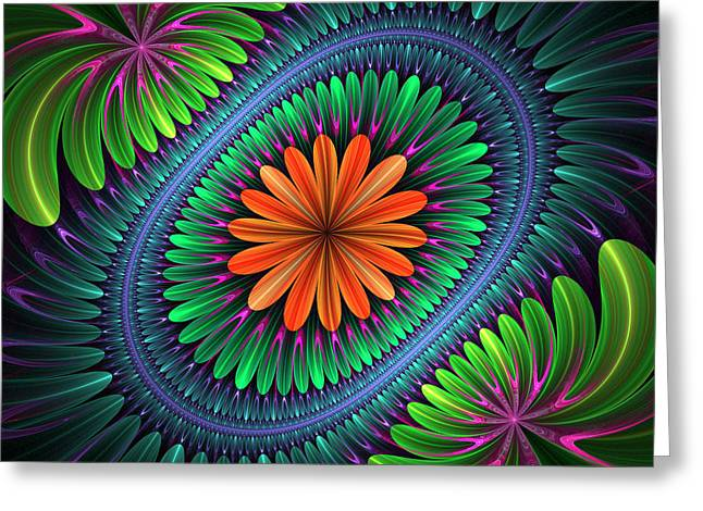 Geometric Digital Art Greeting Cards - Flowering Greeting Card by Sandy Keeton