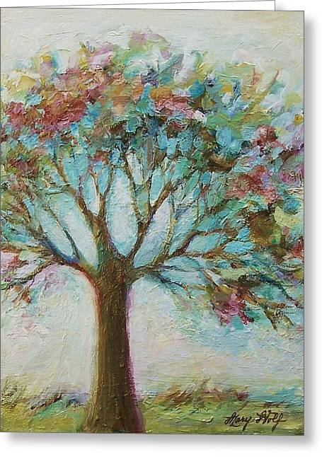 Tangerine Greeting Cards - Flowering Tree Greeting Card by Mary Wolf