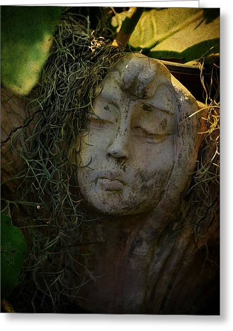 Forgotten Sculptures Greeting Cards - Flowerpot Girl Greeting Card by Dick Hudson
