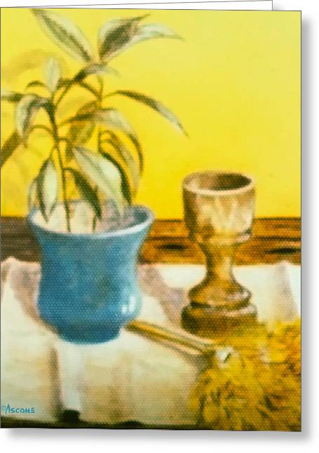 Cloth Pastels Greeting Cards - Flowerpot Goblet and Featherduster Greeting Card by Teresa Ascone