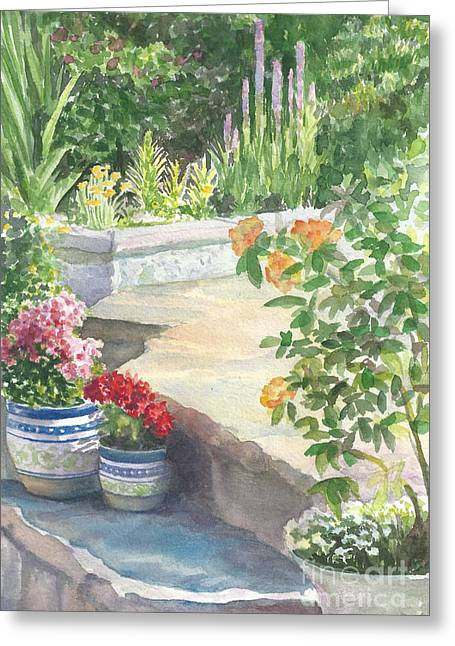 Red Geraniums Greeting Cards - Flowerpots Around The Pool Greeting Card by Laura Sapko