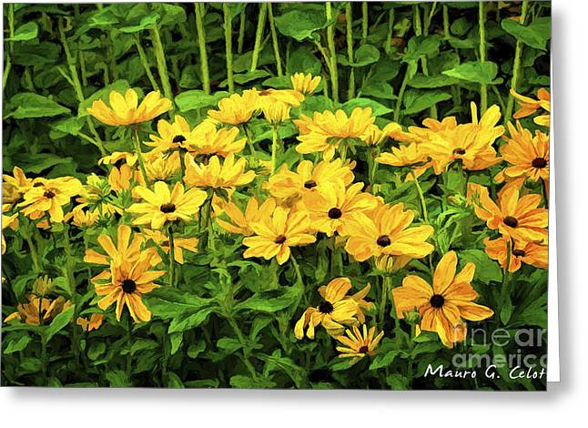 Abstract Digital Pyrography Greeting Cards - Flowers 1 Greeting Card by Mauro Celotti