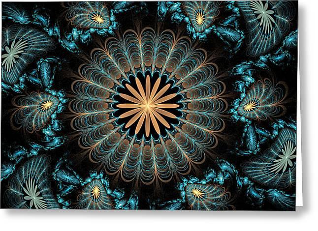 Geometric Digital Art Greeting Cards - Flowers 2 Greeting Card by Sandy Keeton