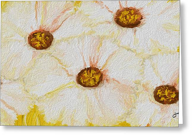 Disability Paintings Greeting Cards - Flowers 5 White and Yellow Greeting Card by Judi Walters